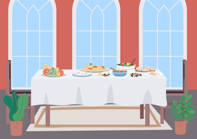 Luxury dinner table Illustration