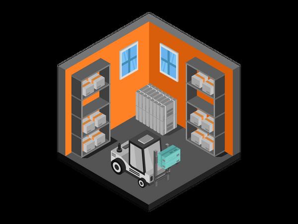 Machine lifting product box in warehouse Illustration