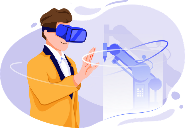 Machine Operating with Vr technologies Illustration