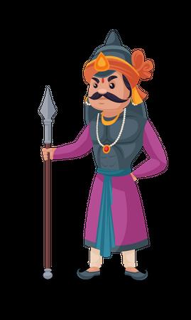 Maharana Pratap holding Javelin Illustration