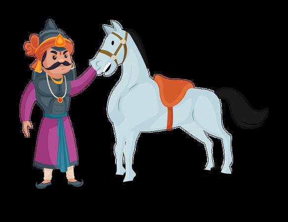 Maharana Pratap pampering his horse chetak Illustration