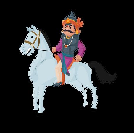 Maharana Pratap riding horse Illustration
