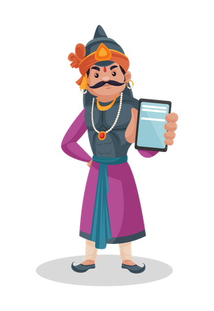 Maharana Pratap showing mobile Illustration