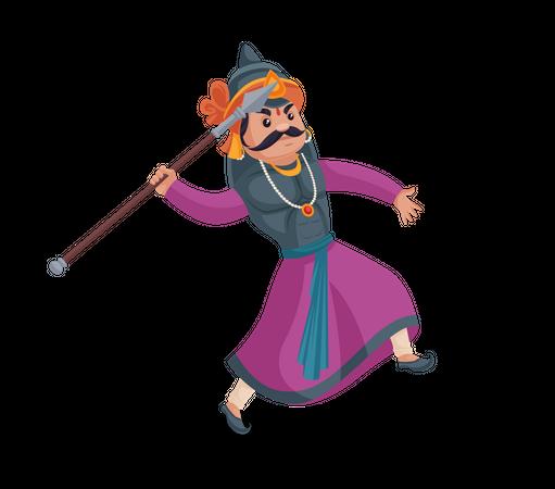 Maharana Pratap throwing Javelin Illustration