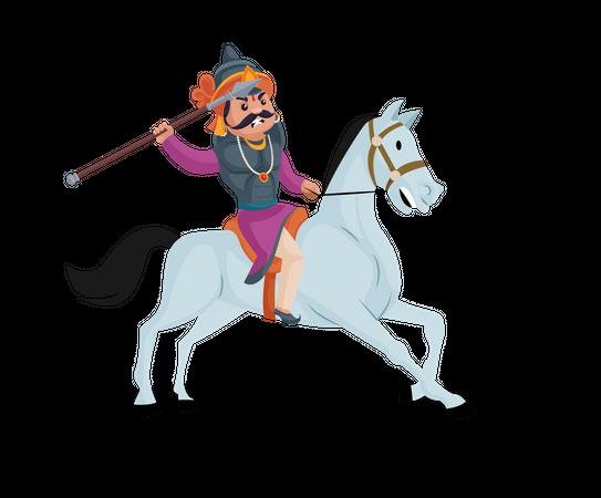 Maharana Pratap throwing Javelin while riding horse Illustration