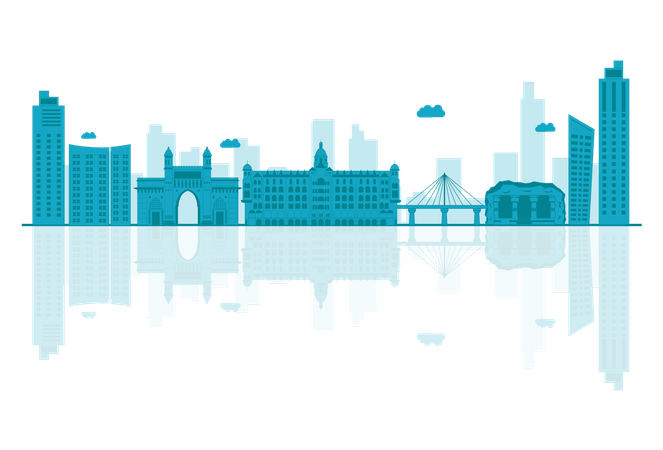 Maharashtra Skyline silhouette with reflections Illustration