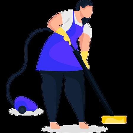 Maid vacuuming floor Illustration