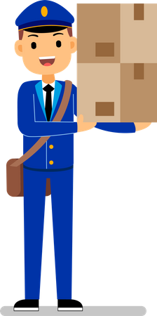 Mail guy holding parcel in hand Illustration