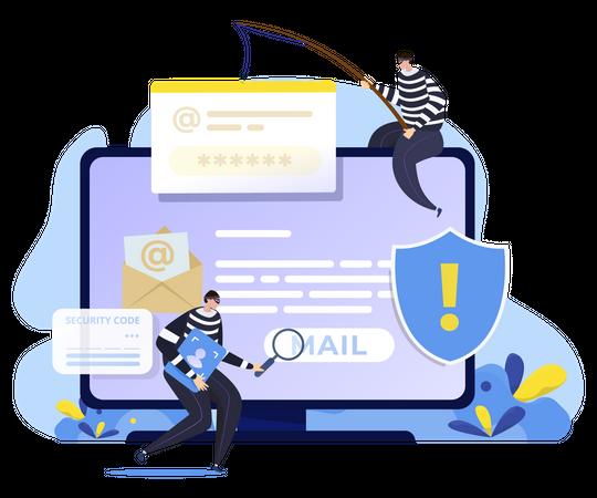 Mail phishing attack Illustration