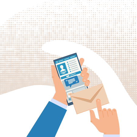 Mailing and Messaging in Social Network with Cellphone Application Illustration