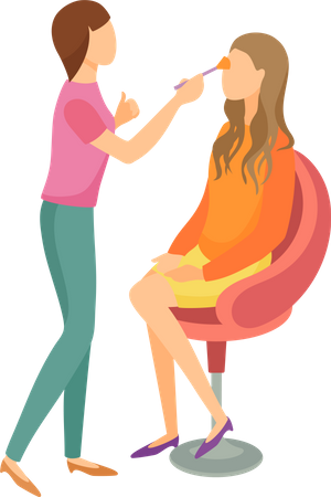 Makeup and Hair Styling Illustration