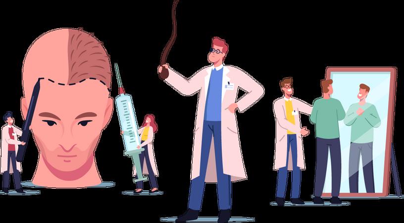 Making Hair Transplantation Procedure Illustration