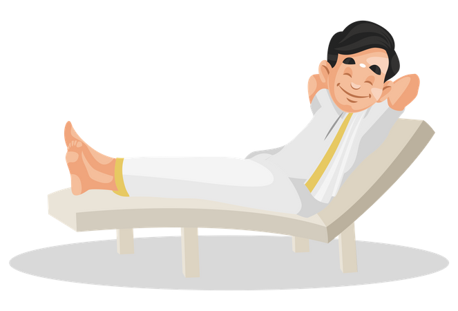 Malayali man is lying on the pool chair and relaxing Illustration