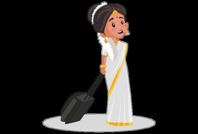Malayali woman holding suitcase Illustration