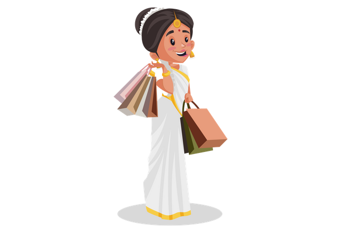Malayali woman is holding shopping bags in her hands after shopping Illustration