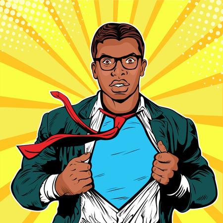 Male afro american businessman superhero pop art retro vector illustration Illustration