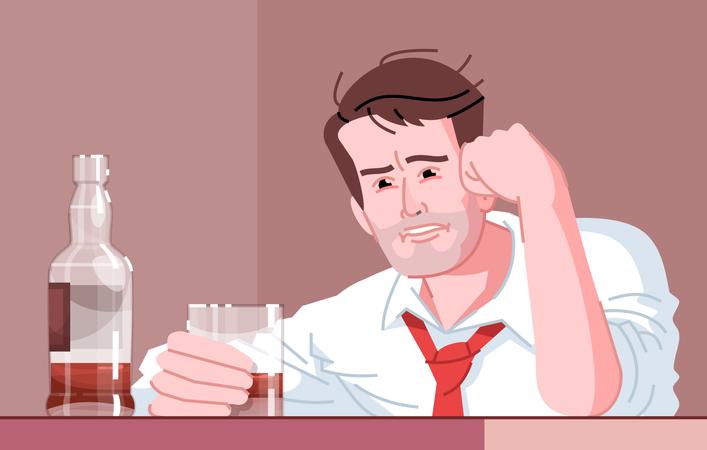 Male alcoholic Illustration