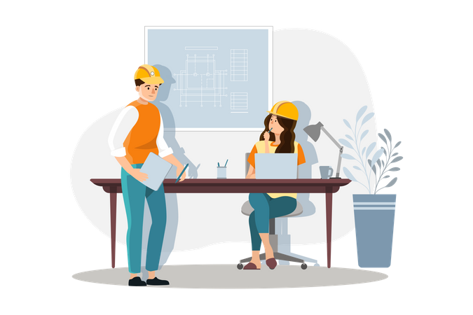 Male and female architect doing discussion about building plan Illustration