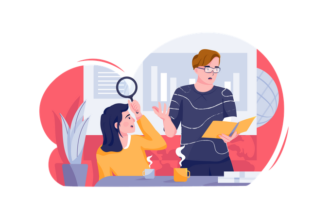 Male and female business person planning about market scenario Illustration
