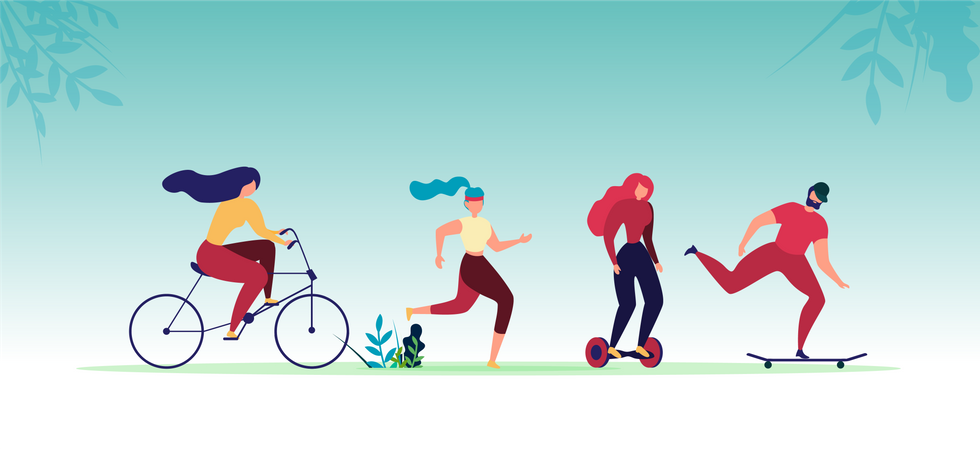 Male and Female Characters Cycling, Jogging, Riding Gyroscooter and Skateboard Illustration
