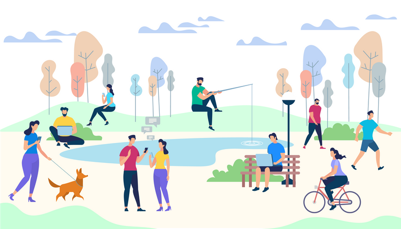 Male and Female Characters Life on Park Background Illustration