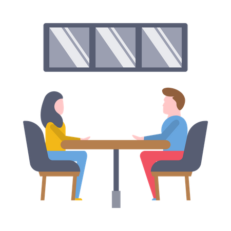 Male and female colleagues doing conversation Illustration