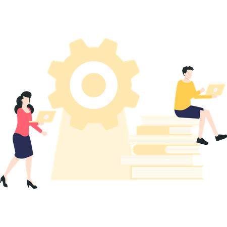Male and female developers working on a project Illustration