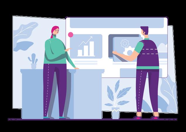 Male and female employee analyzing marketing data Illustration