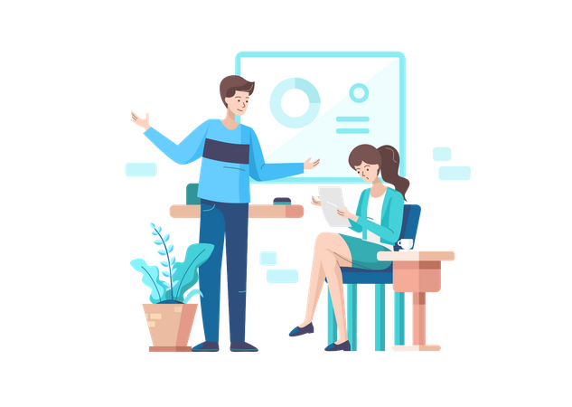 Male and female employee doing Discussion in a Meeting Illustration