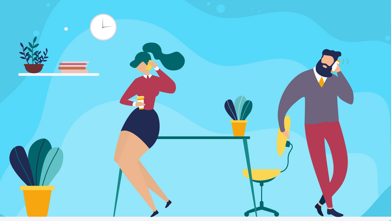 Male and female employee talking on mobile Illustration