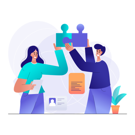 Male and Female employee working on a creative idea Illustration
