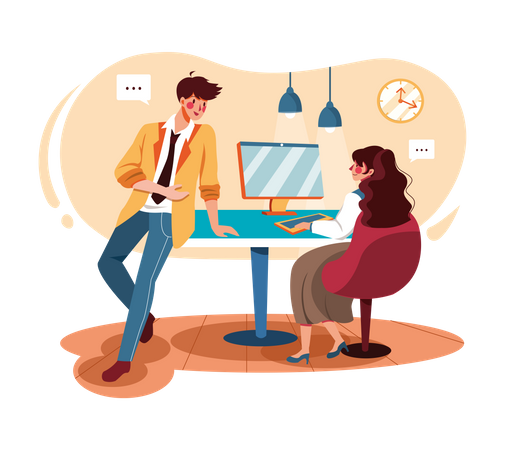 Male and female employees doing discussion Illustration
