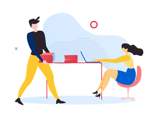 Male and female employees working in the office Illustration