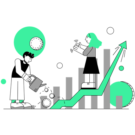 Male and female employees working on sales growth Illustration