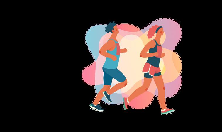 Male and female marathon runners Illustration