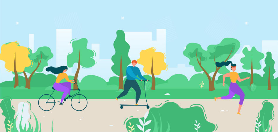 Male and Female Riding Bicycle Illustration