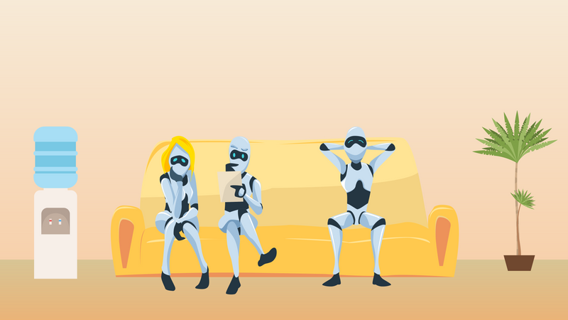 Male and female robots sitting on couch Illustration