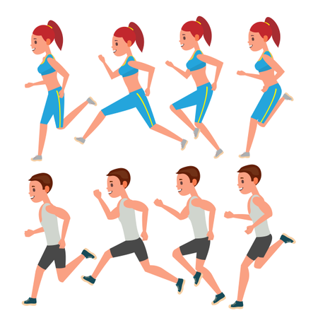 Male And Female Running Vector. Animation Frames Set. Sport Athlete Fitness Character. Marathon Road Race Runner. Woman Side View. Sportswear. Jogging Couple, Workout. Isolated Flat Illustration Illustration