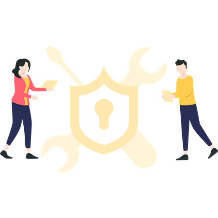 Male and female security developers Illustration