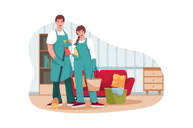 Male and female servant cleaning room Illustration