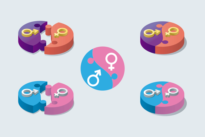 Male and female symbol in puzzle pieces Illustration