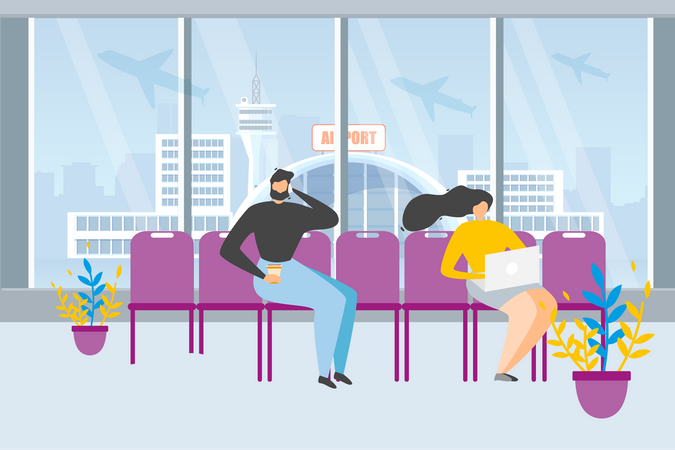 Male and female Waiting for Flight Illustration