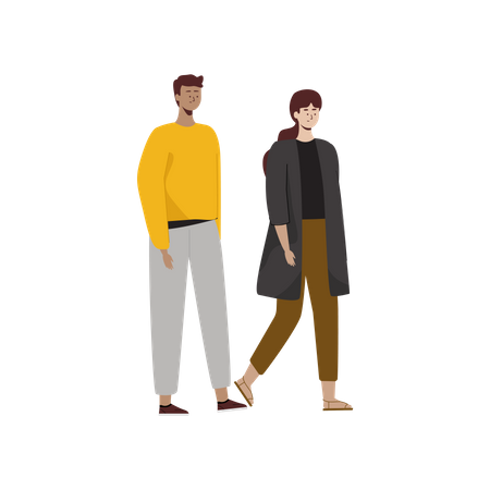 Male and female walking in autumn clothes Illustration