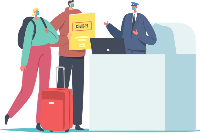 Male and Female Wearing Medic Facial Masks with Luggage and Health Passport Pass Registration in Airport Illustration