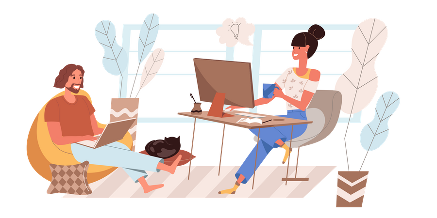 Male And Female Working From Home Illustration