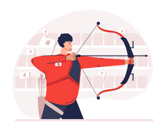 Male archery Illustration
