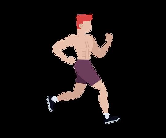 Male athlete running in race Illustration