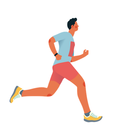 Male athlete running in the morning Illustration