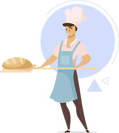 Male baker with bread Illustration