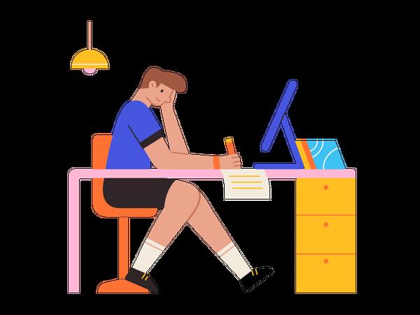 Male blog writer Illustration